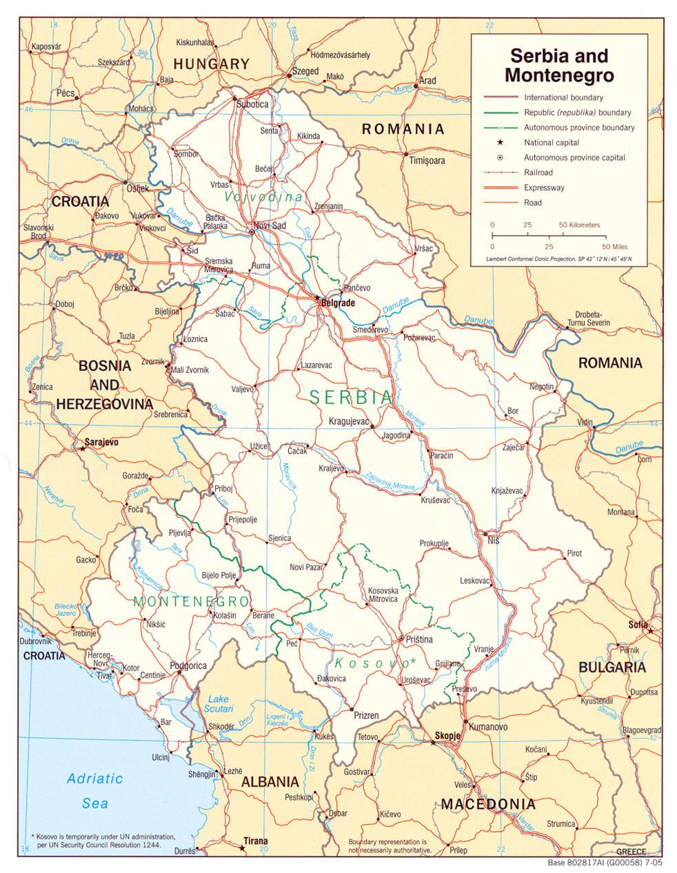 Landkarte Serbien Und Montenegro Politische Karte Weltkarte