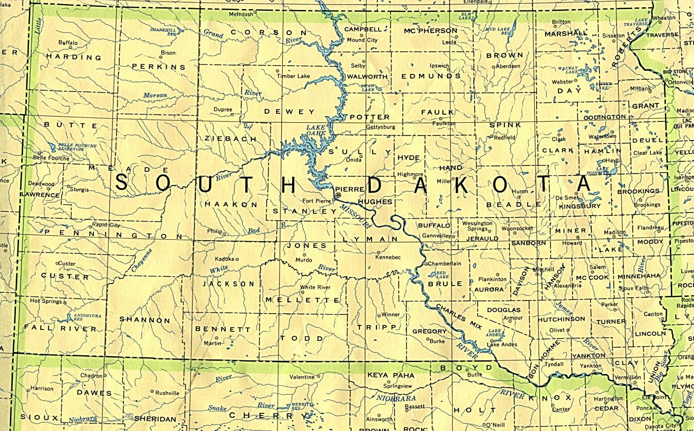 landkarte south dakota politische karte. Black Bedroom Furniture Sets. Home Design Ideas