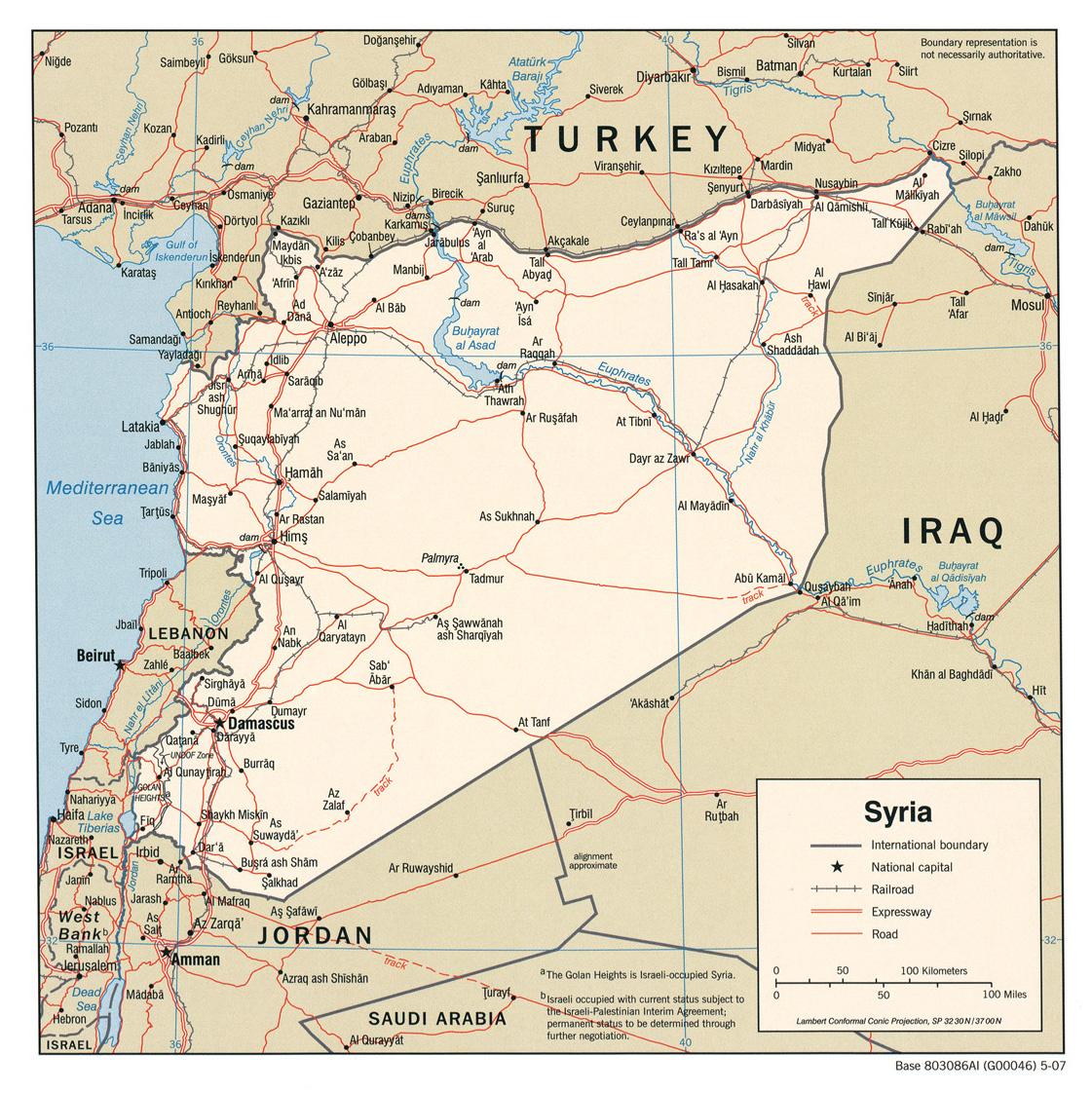 landkarte syrien politische karte karten und stadtpl ne der welt. Black Bedroom Furniture Sets. Home Design Ideas