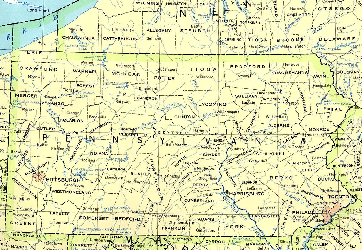 Landkarte Pennsylvania Politische Karte Weltkarte Com Karten