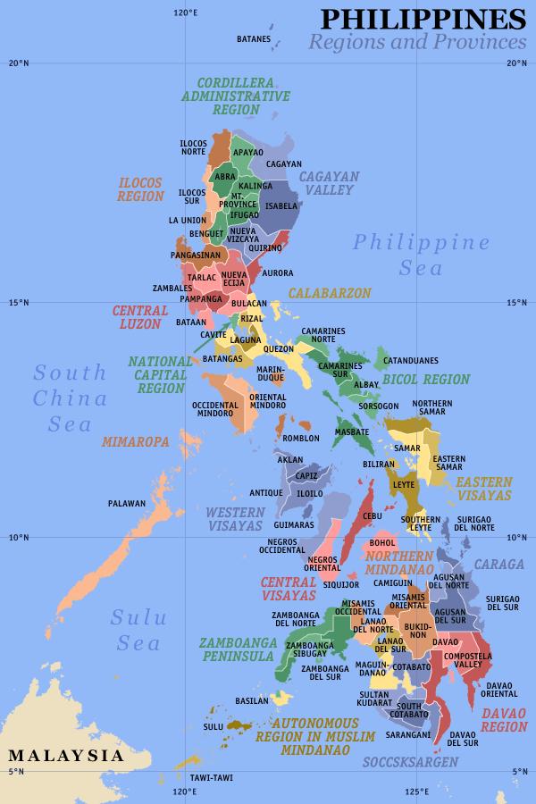 Karte Philippinen.Landkarte Philippinen Karte Provinzen Weltkarte Com Karten Und