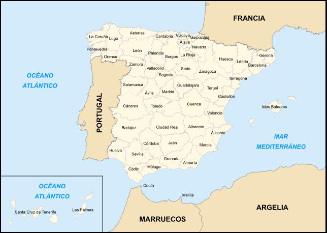 Landkarte Spanien (Karte Provinzen Spanien) : Weltkarte.com ...