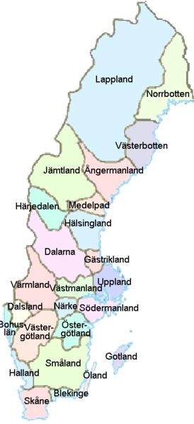 Schweden Karte Regionen.Landkarte Schweden Karte Der Provinzen Weltkarte Com