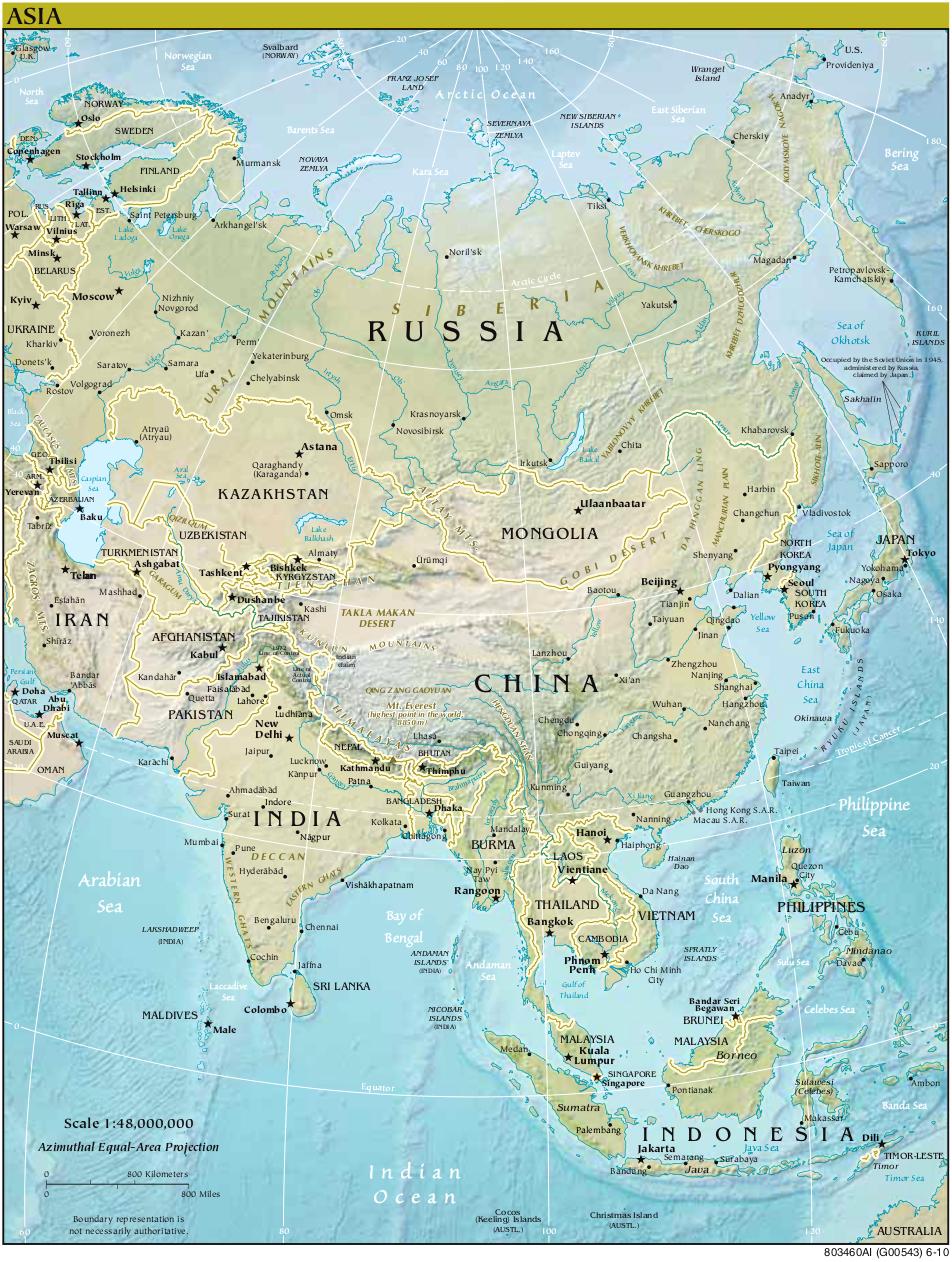 Landkarte Asien.Karte Asien Reliefkarte Weltkarte Com Karten Und