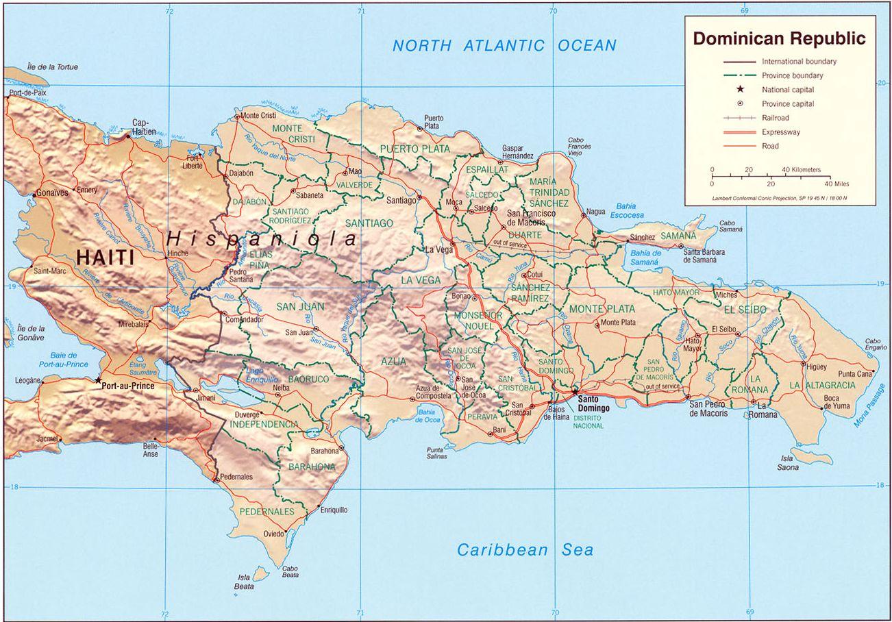 Landkarte Dominikanische Republik Reliefkarte Weltkartecom