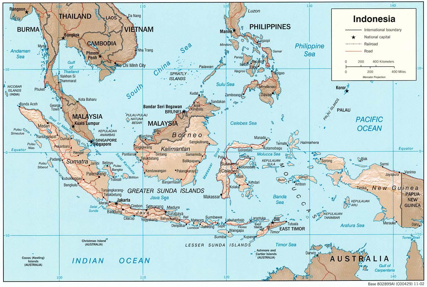 Landkarte Indonesien Reliefkarte Weltkarte Com Karten Und