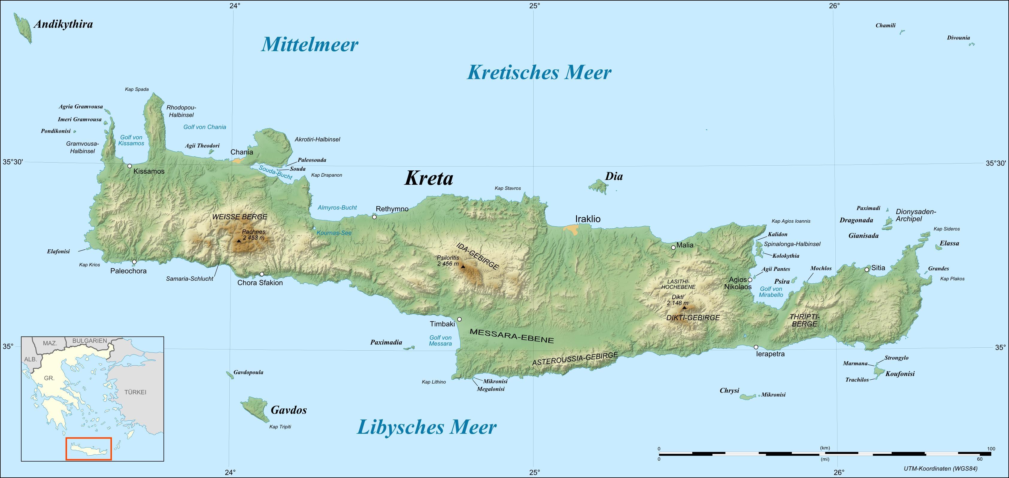kreta weltkarte Landkarte Kreta (Reliefkarte) : Weltkarte.  Karten und  kreta weltkarte