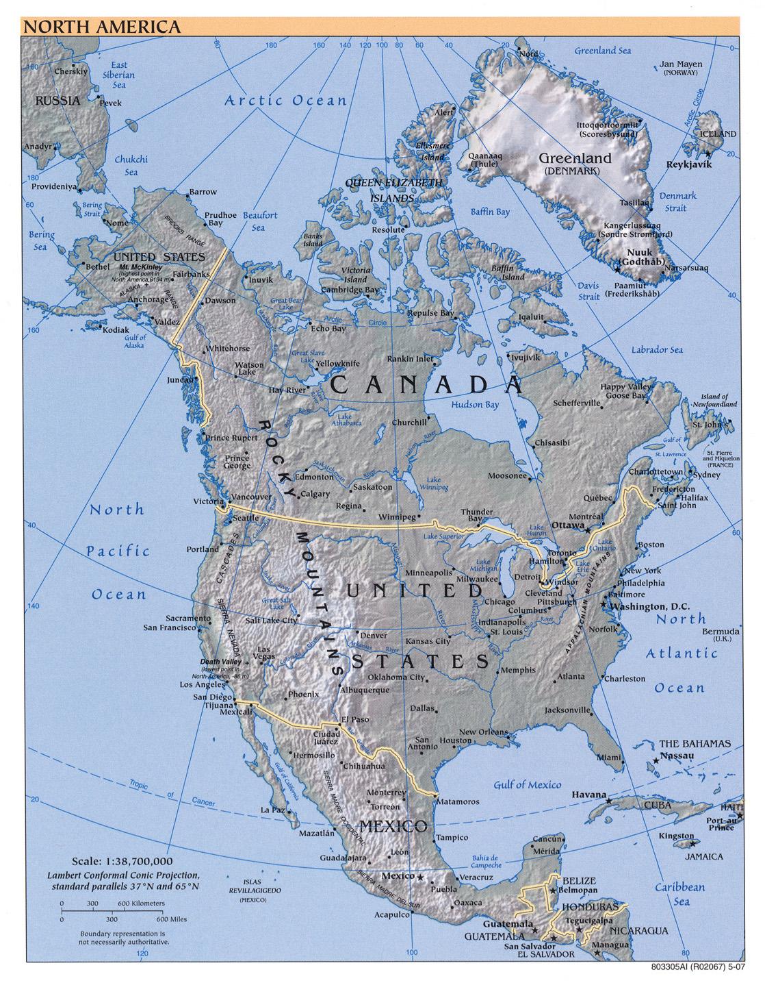 Karte Nordamerikas.Landkarte Von Nordamerika Reliefkarte Weltkarte Com Karten Und