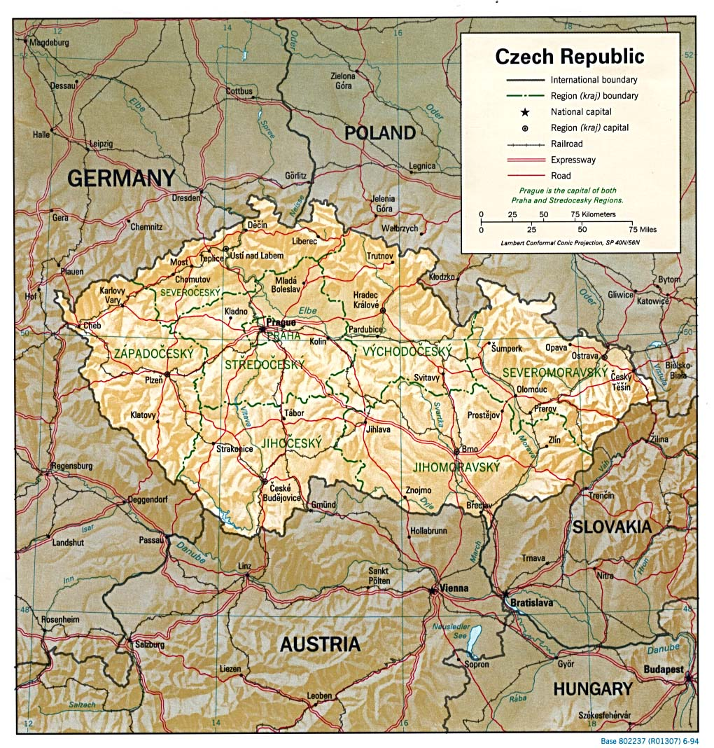 Karte Tschechien.Landkarte Tschechische Republik Reliefkarte Weltkarte Com