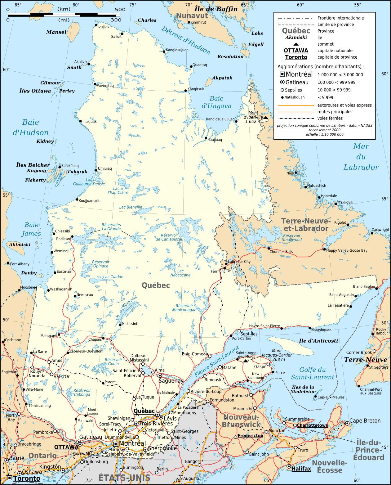 Landkarte Quebec Strassenkarte Weltkarte Com Karten Und
