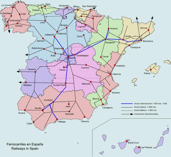 Spanische Karte.Landkarte Spanien Karte Eisenbahnnetz Weltkarte Com