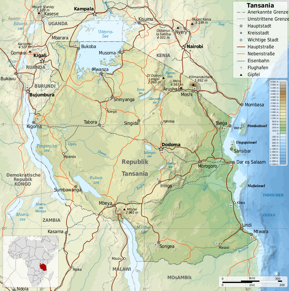 tansania karte Landkarte Tansania (Topographische Karte) : Weltkarte.  Karten  tansania karte