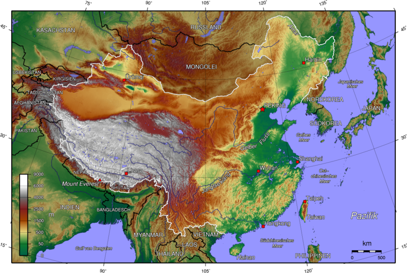 landkarte china topographische karte karten und stadtpl ne der welt. Black Bedroom Furniture Sets. Home Design Ideas