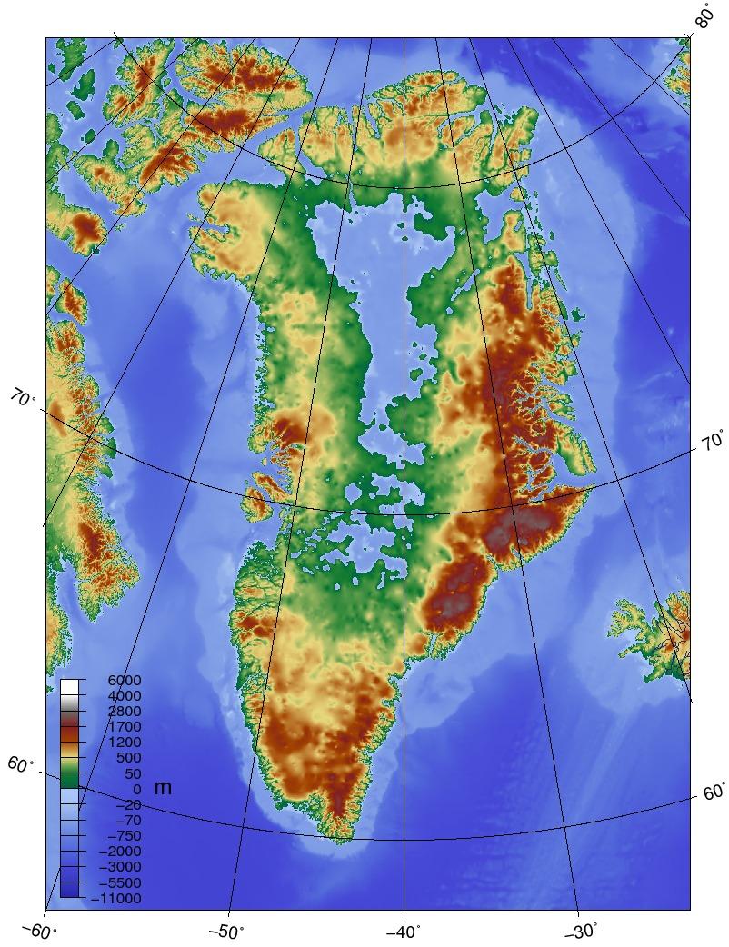 Karte Von Gronland Topographie Weltkarte Com Karten Und