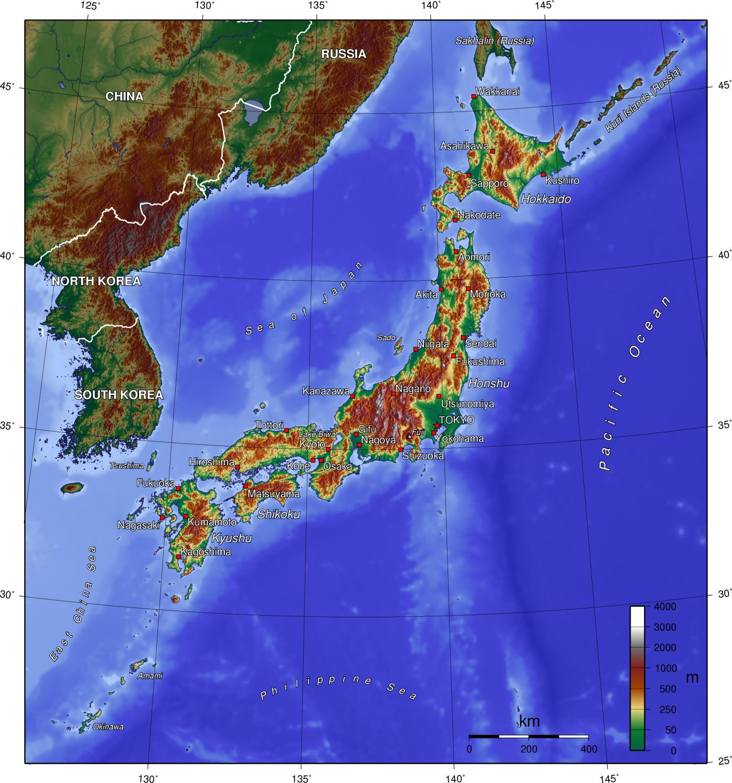 Landkarte Japan (Topographie) : Weltkarte.com - Karten und ...