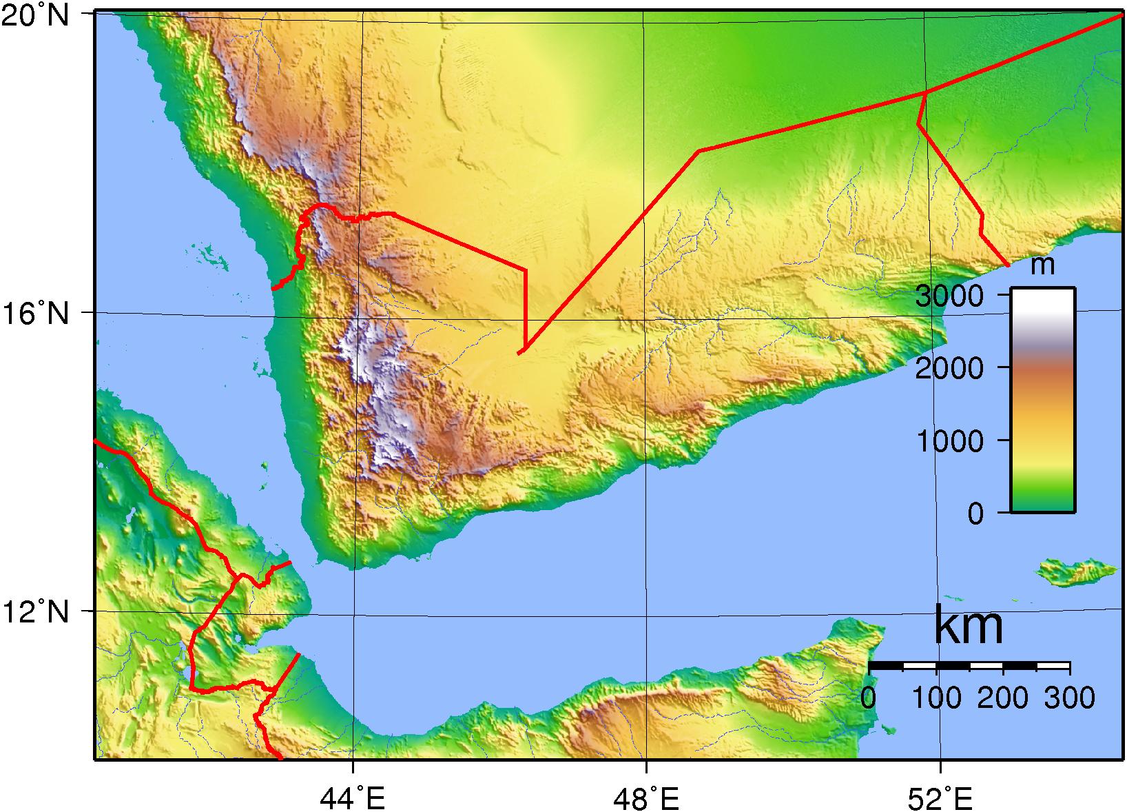 Landkarte Jemen Topographie Weltkarte Com Karten Und