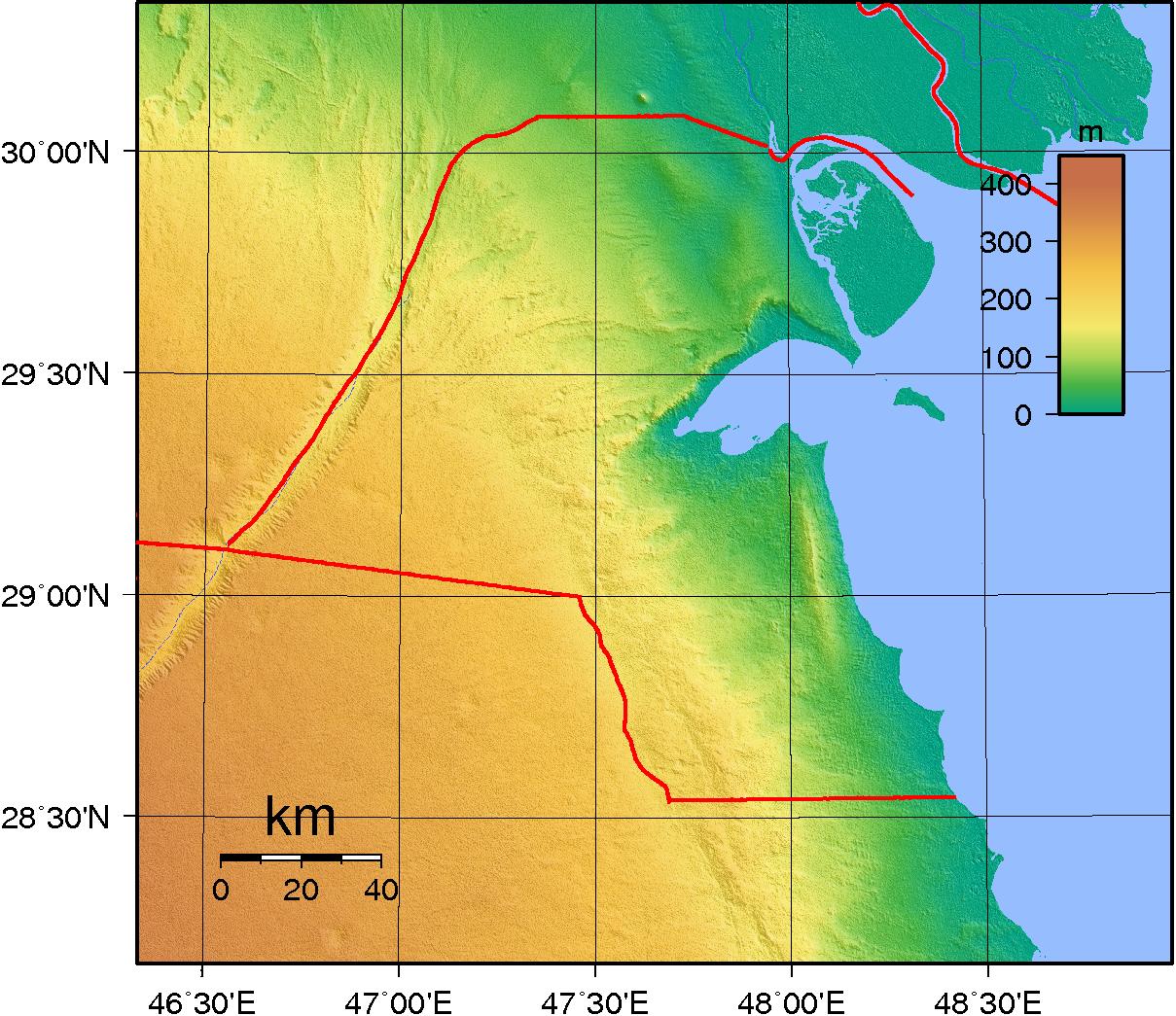 Map of Kuwait (Topography) : Worldofmaps.net - online Maps ...