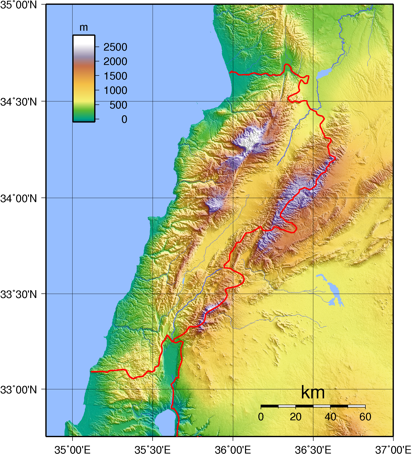 Libanon Weltkarte