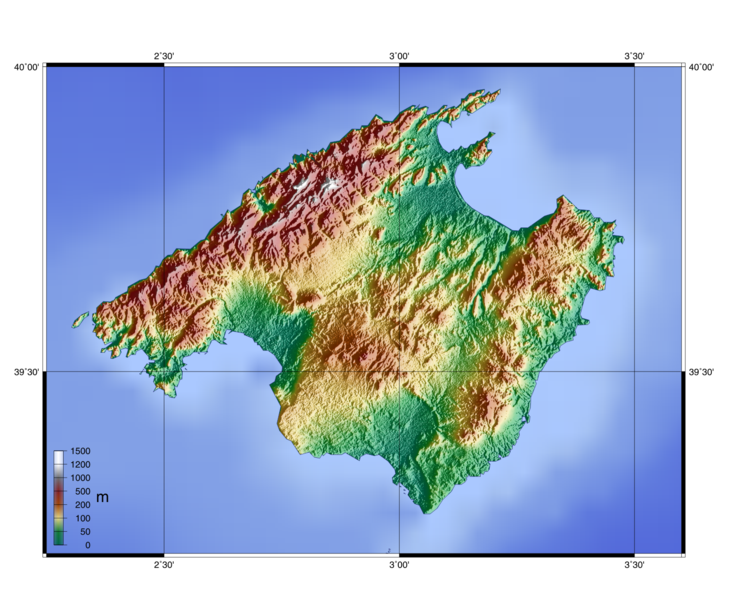topographie karte Landkarte Mallorca (Topographische Karte) : Weltkarte.  Karten  topographie karte