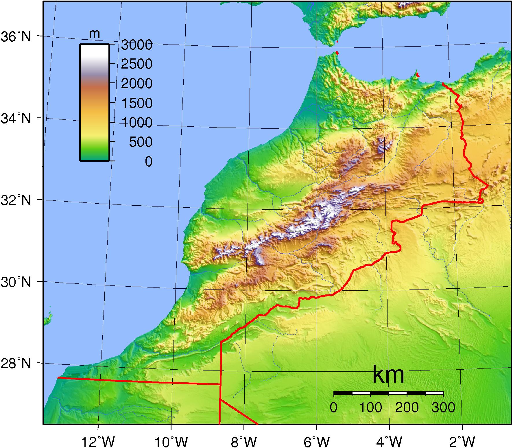 topographie karte Landkarte Marokko (Topographische Karte) : Weltkarte.  Karten  topographie karte