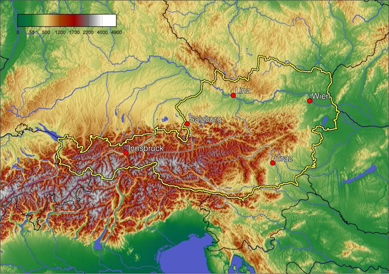 topographische karte österreich Landkarte Oesterreich (Topographische Karte) : Weltkarte. topographische karte österreich