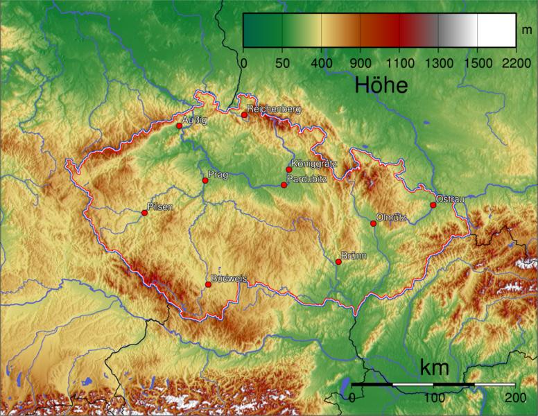 Höhenmeter Karte.Landkarte Tschechische Republik Topographische Karte Weltkarte