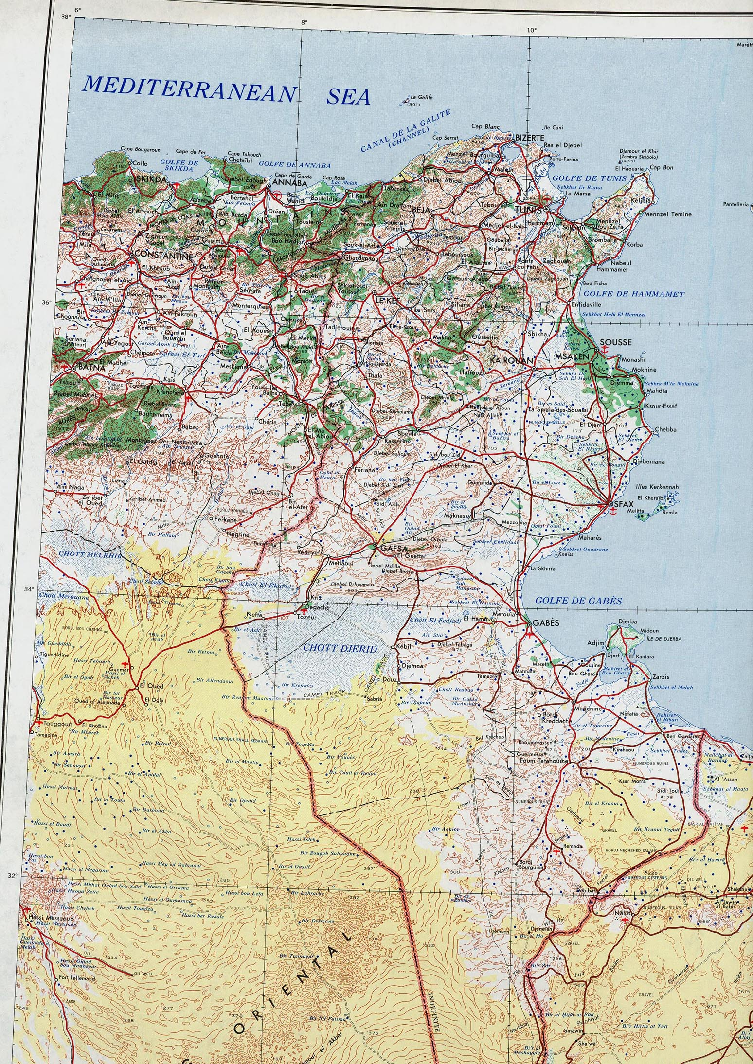 Tunesien Karte.Landkarte Tunesien 2 Mb Topographische Karte