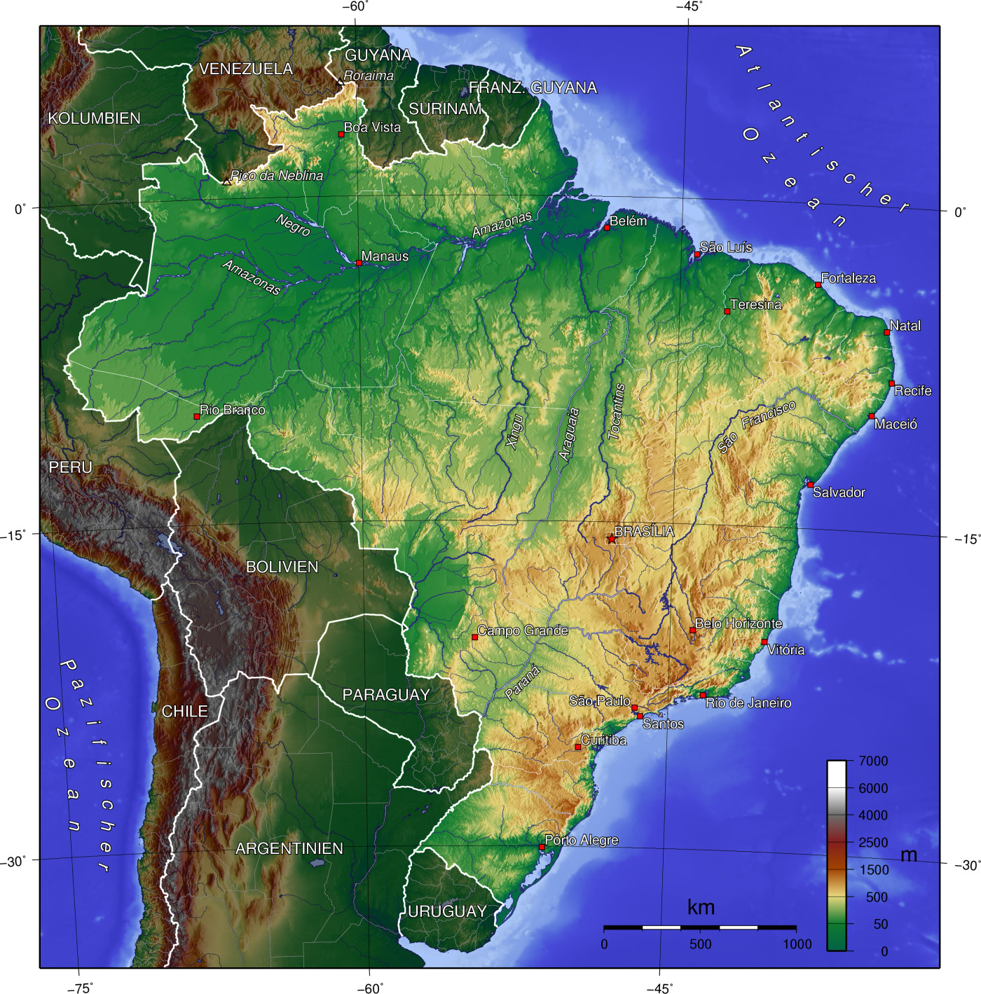 physische karte brasilien Landkarte Brasilien (Topographische Karte) : Weltkarte.