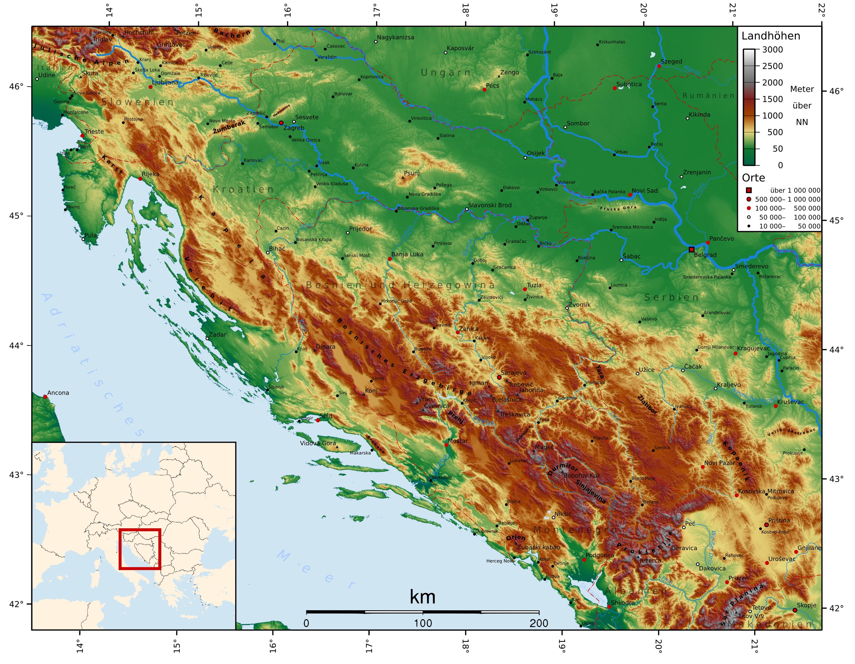 topographie karte Landkarte Bosnien Herzegowina (Topographische Karte) : Weltkarte  topographie karte