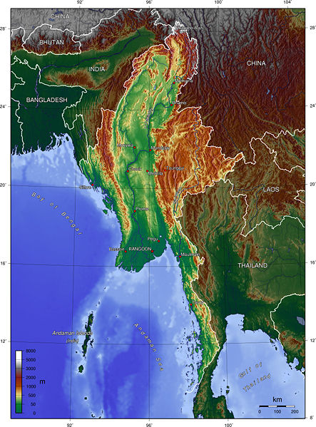 Karte Myanmar.Landkarte Burma Topographische Karte Weltkarte Com Karten Und