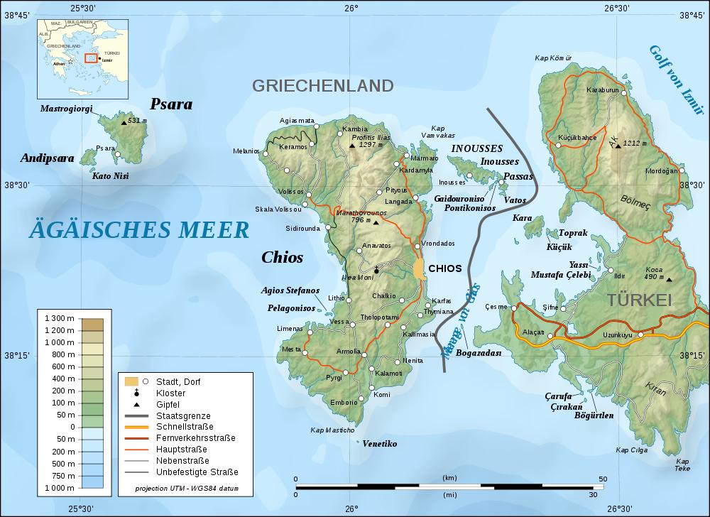 Psara Island Map