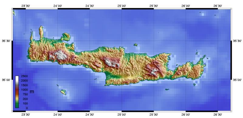 Landkarte Kreta Topographische Karte Weltkartecom Karten Und