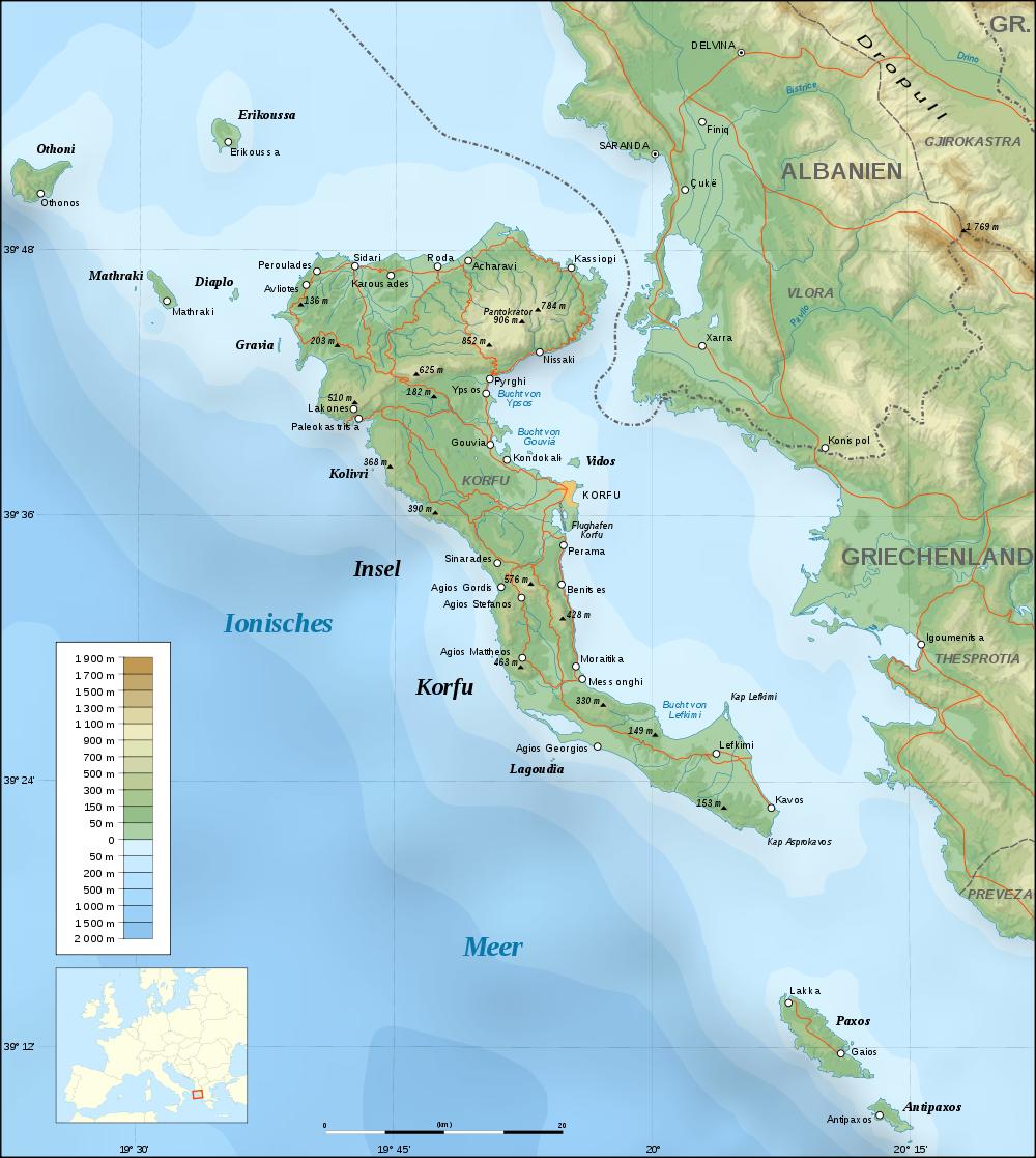 karte korfu Landkarte von Korfu (Topographische Karte, Deutsch) : Weltkarte