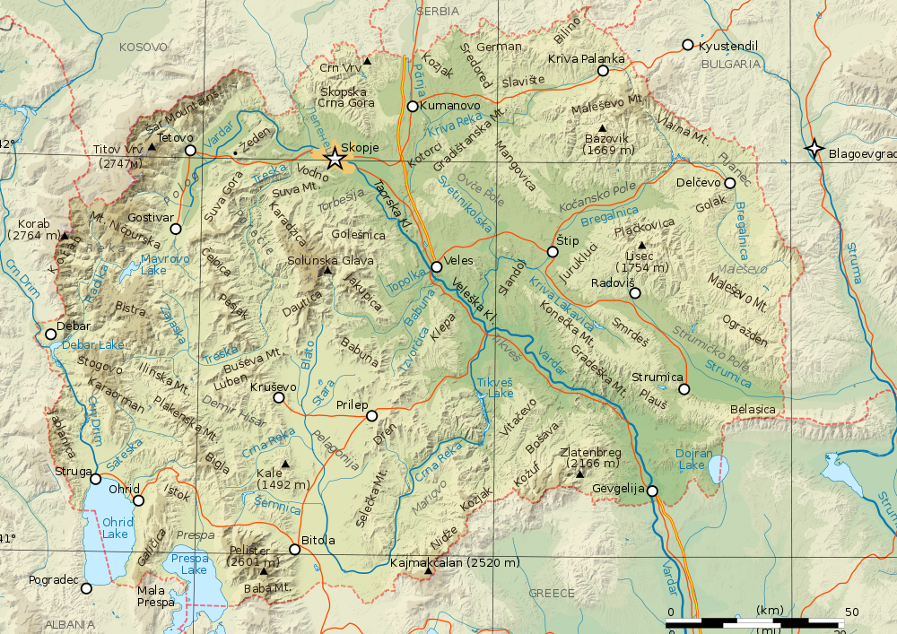 Mazedonien Karte.Landkarte Mazedonien Topographische Karte Weltkarte Com Karten