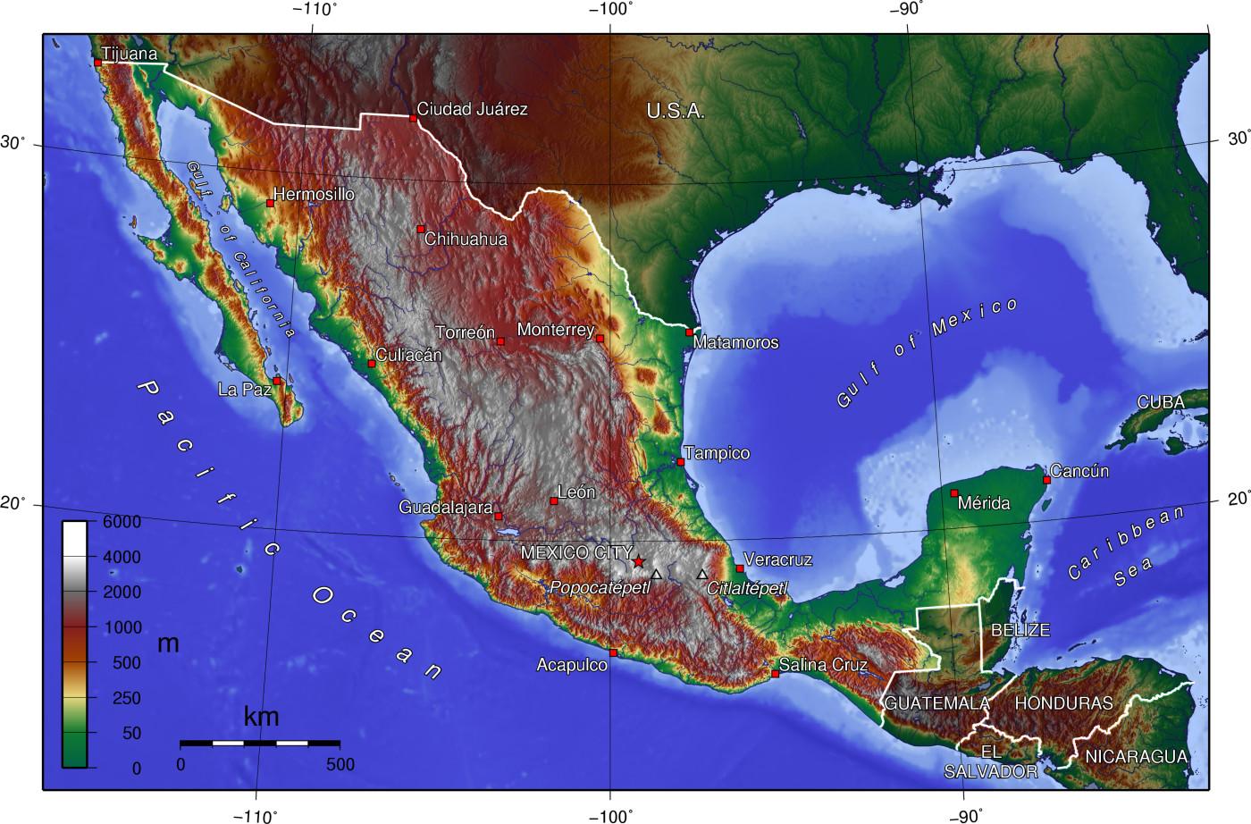 Mexiko Karte Welt.Landkarte Mexiko Topographische Karte Weltkarte Com