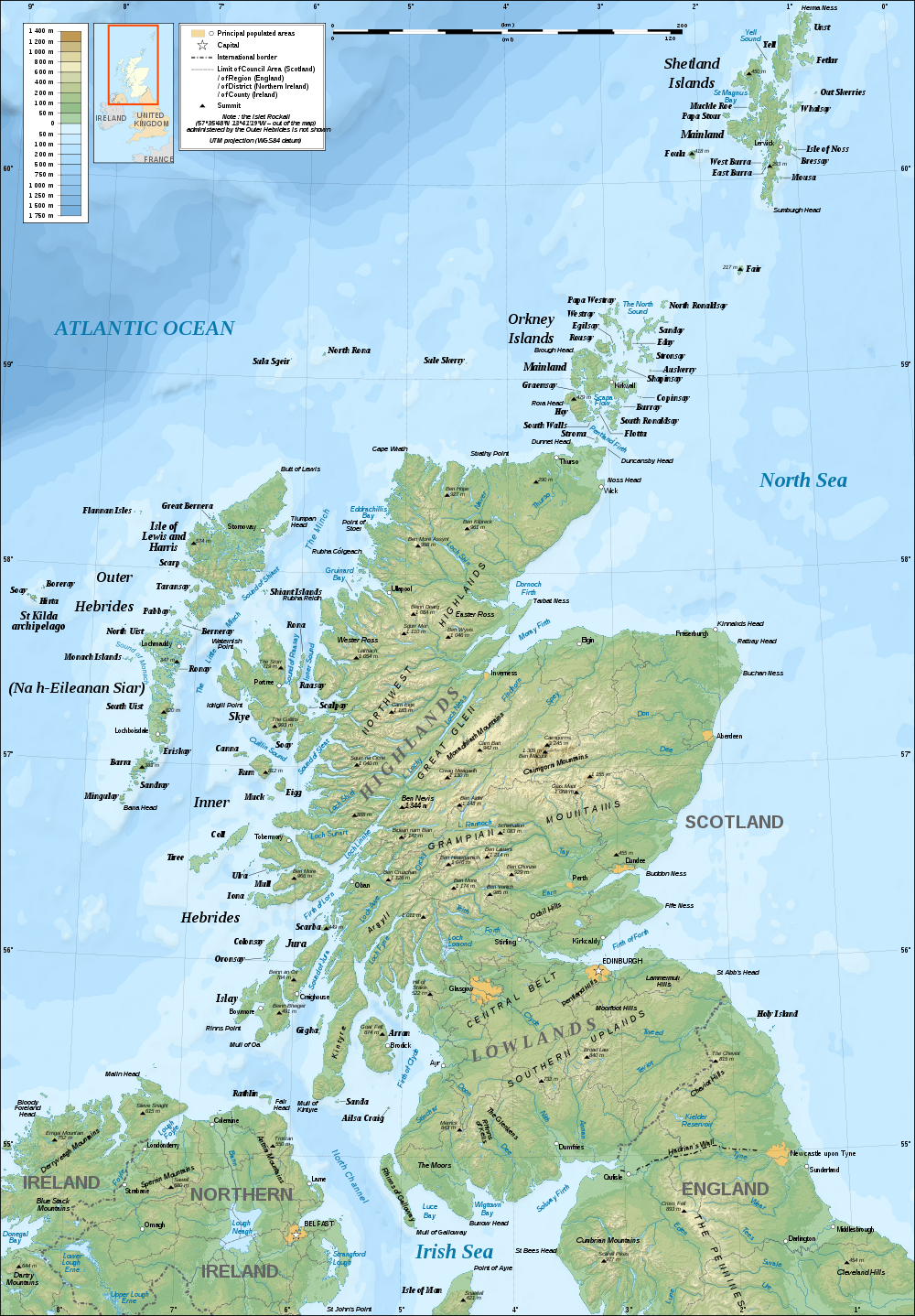 landkarte schottland topographische karte karten und stadtpl ne der welt. Black Bedroom Furniture Sets. Home Design Ideas
