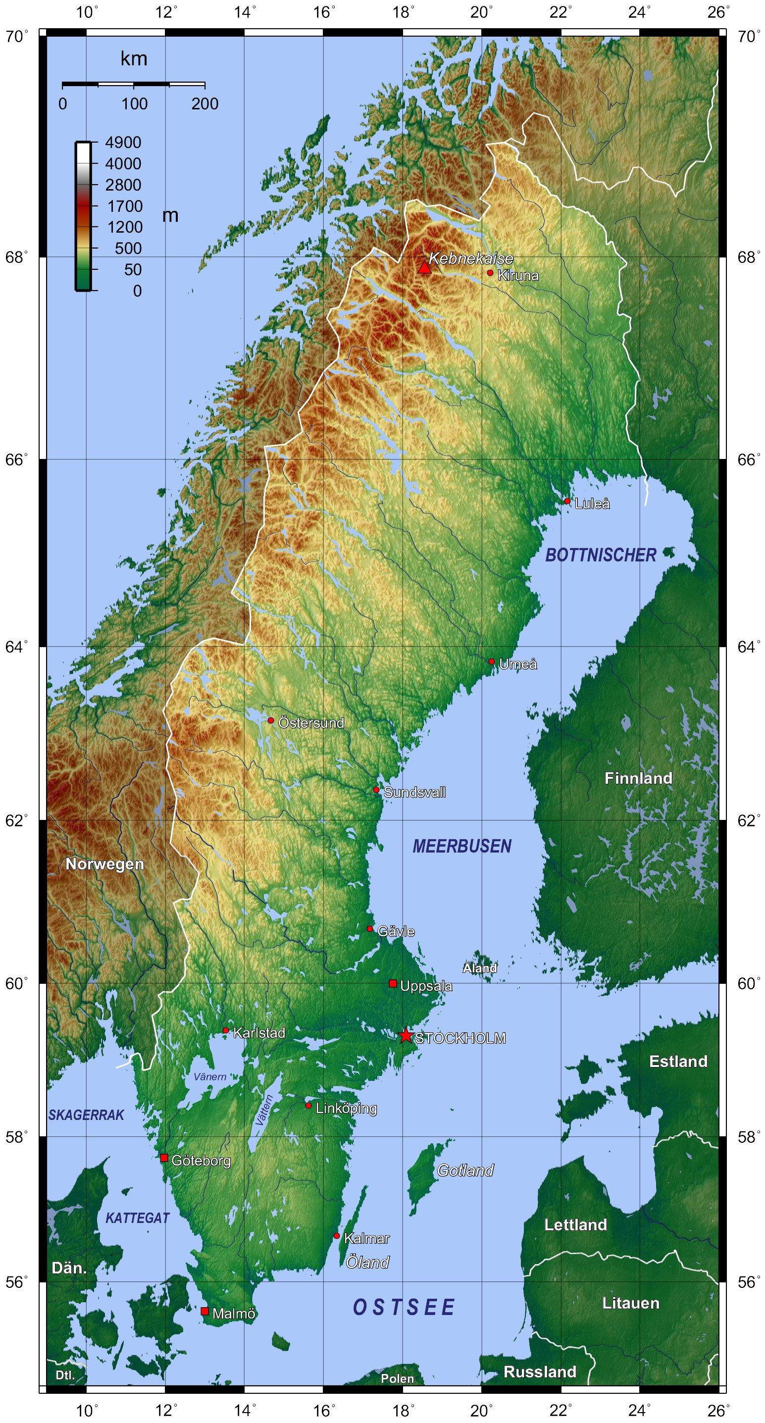Landkarte Schweden Topographische Karte Weltkarte Com Karten