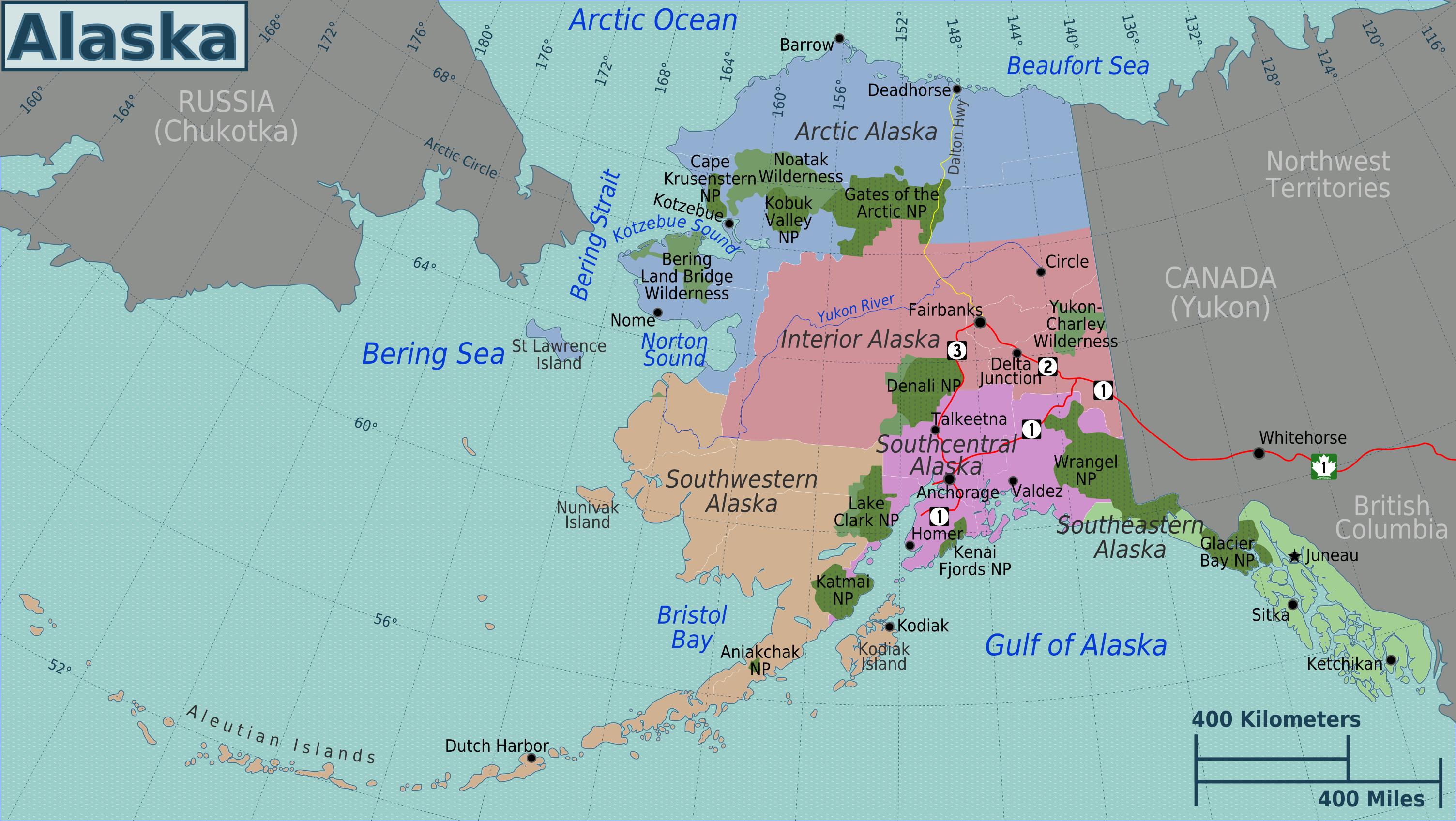 Landkarte Alaska Touristische Karte Nationalparks Weltkarte