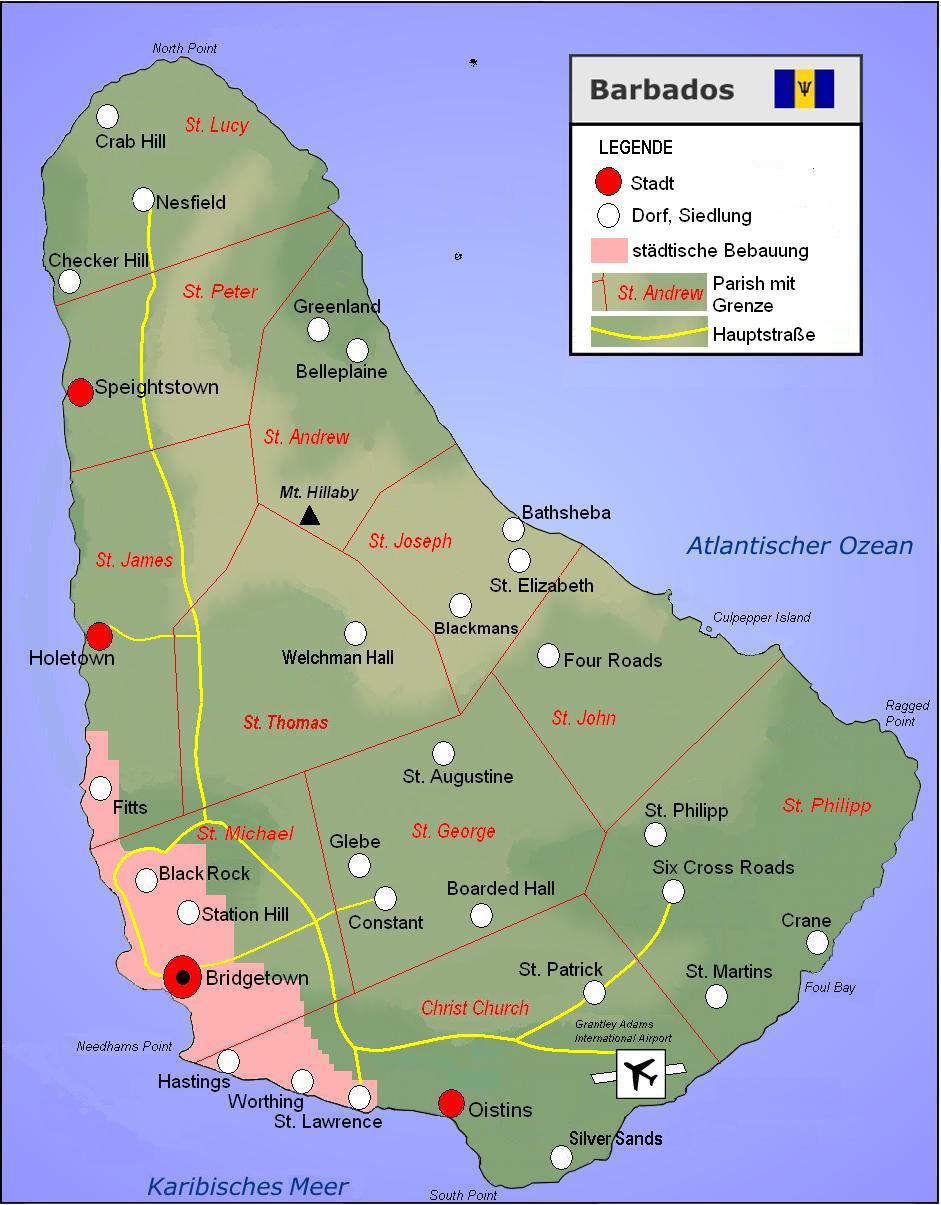 Karibik Karte Deutsch.Landkarte Barbados Touristische Karte Weltkarte Com Karten Und
