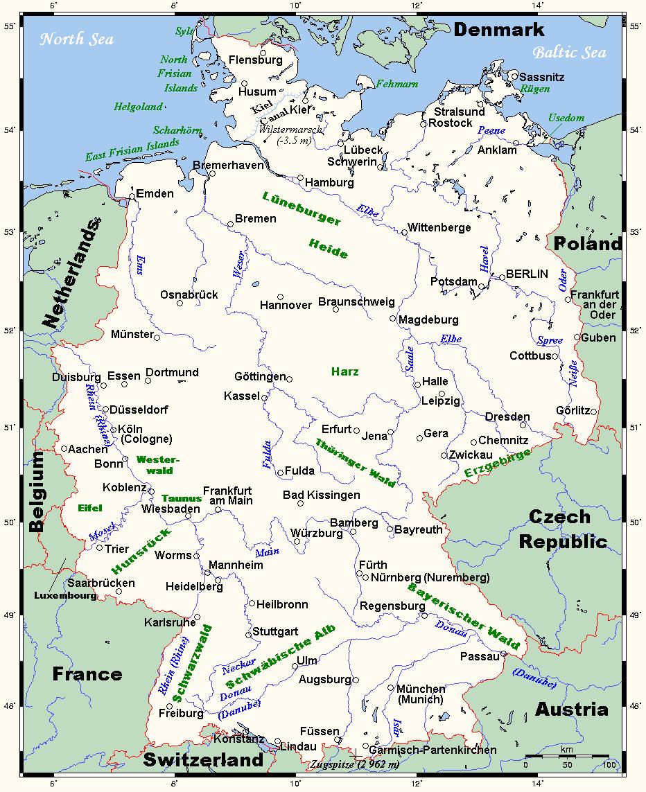 landkarte deutschland bersichtskarte karten und stadtpl ne der welt. Black Bedroom Furniture Sets. Home Design Ideas