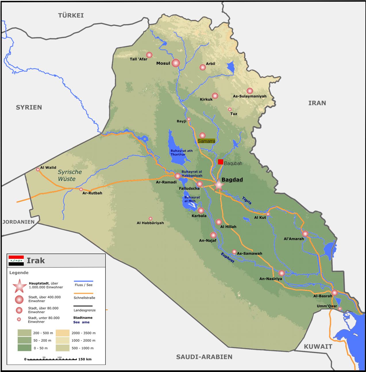 landkarte irak Landkarte Irak (Übersichtskarte) : Weltkarte.  Karten und  landkarte irak