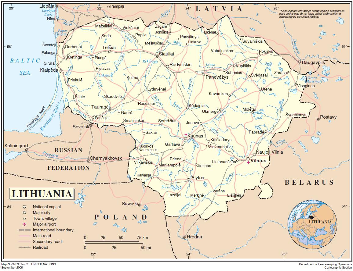 litauen karte Landkarte Litauen (Übersichtskarte) : Weltkarte.  Karten und