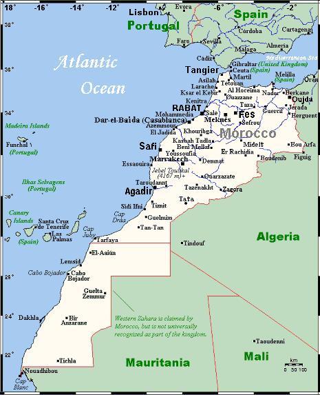 karte marokko Landkarte Marokko (Übersichtskarte) : Weltkarte.  Karten und