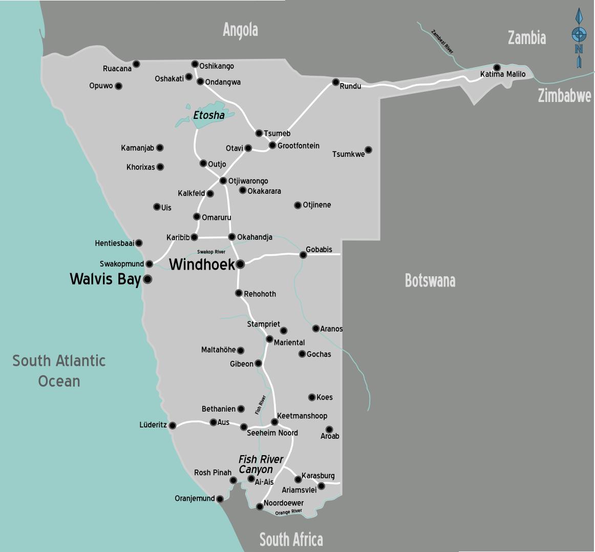 karte namibia Landkarte Namibia (Übersichtskarte) : Weltkarte.  Karten und  karte namibia