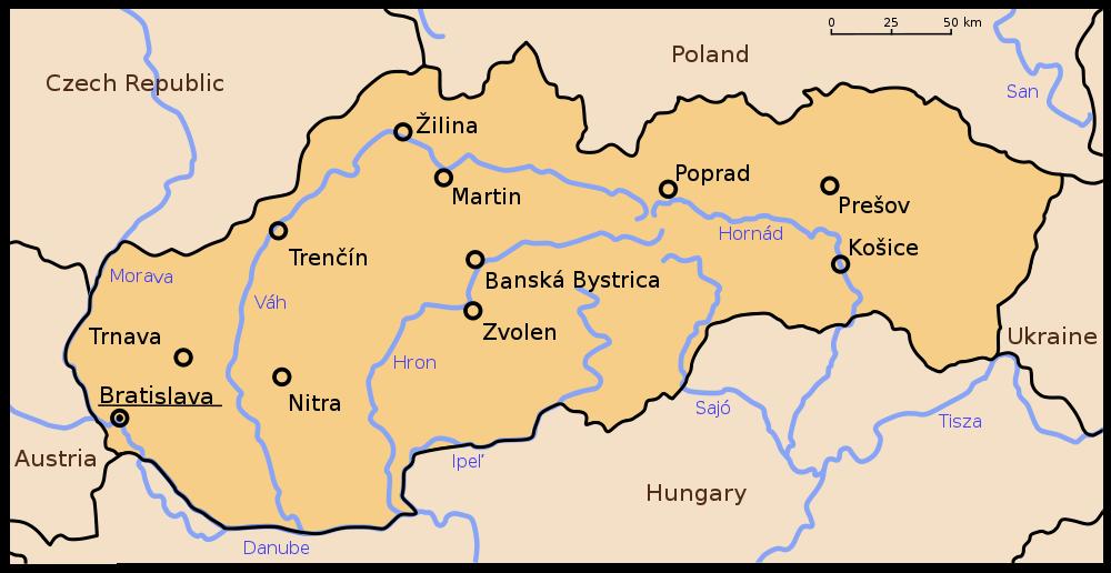 slowakei karte Landkarte Slowakei (Übersichtskarte/Städte) : Weltkarte.