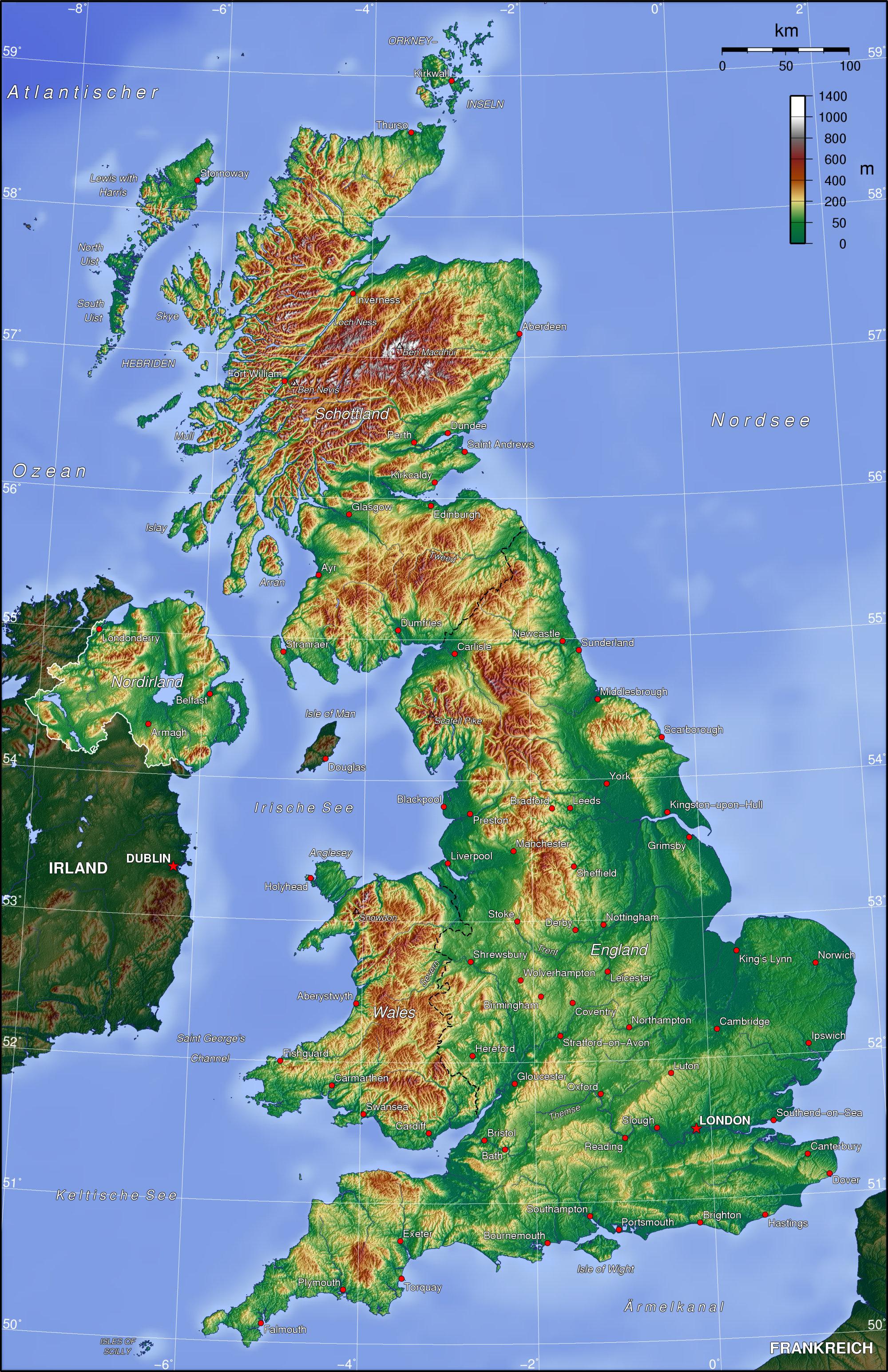 Landkarte England Topographische Karte Weltkarte Com Karten