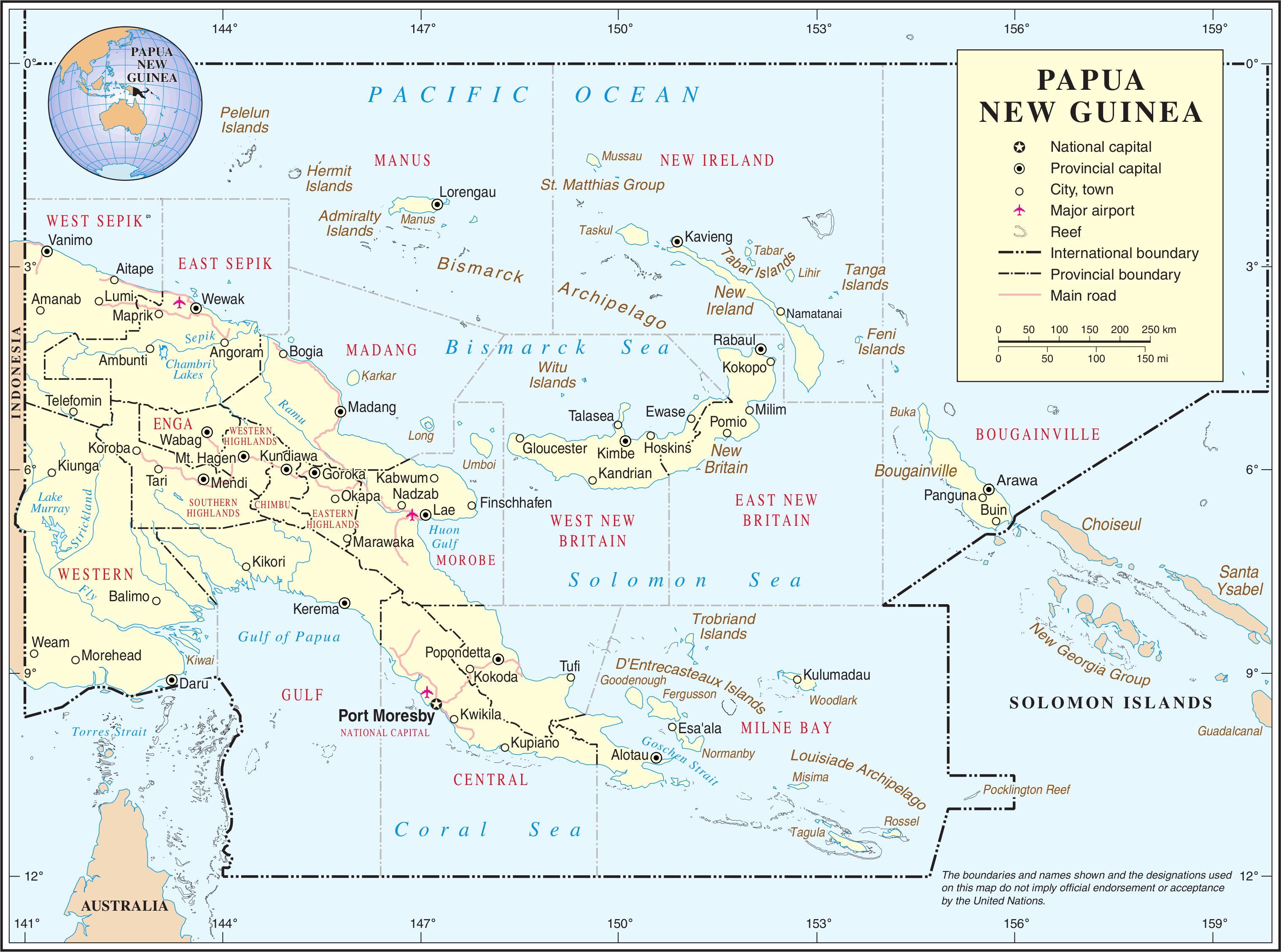 papua neuguinea karte Landkarte Papua Neuguinea (Übersichtskarte) : Weltkarte.