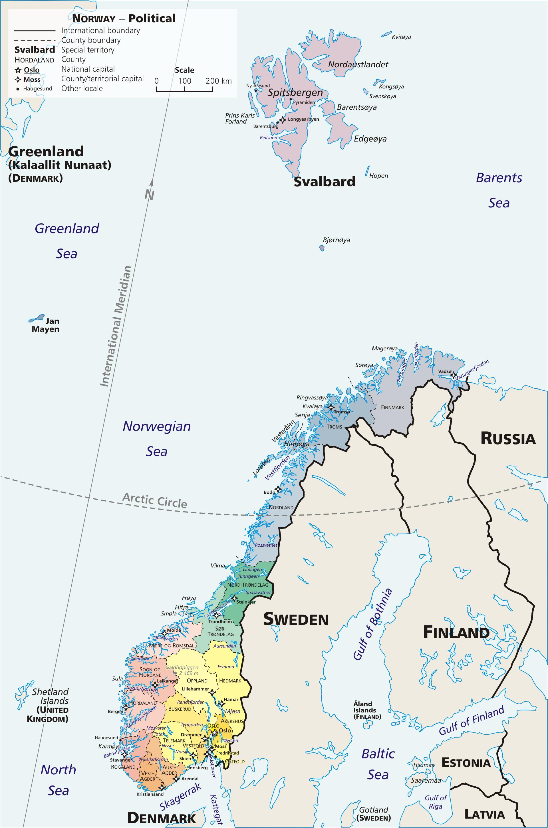 Karte Südnorwegen.Landkarte Norwegen Verwaltungsbezirke Weltkarte Com Karten Und